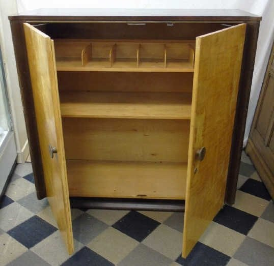 Antique Art Deco Two Tone Wood Armoire Cabinet - 2