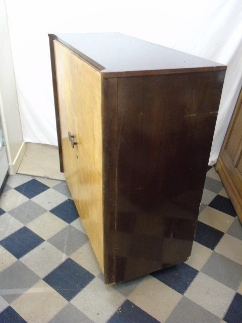 Antique Art Deco Two Tone Wood Armoire Cabinet - 4