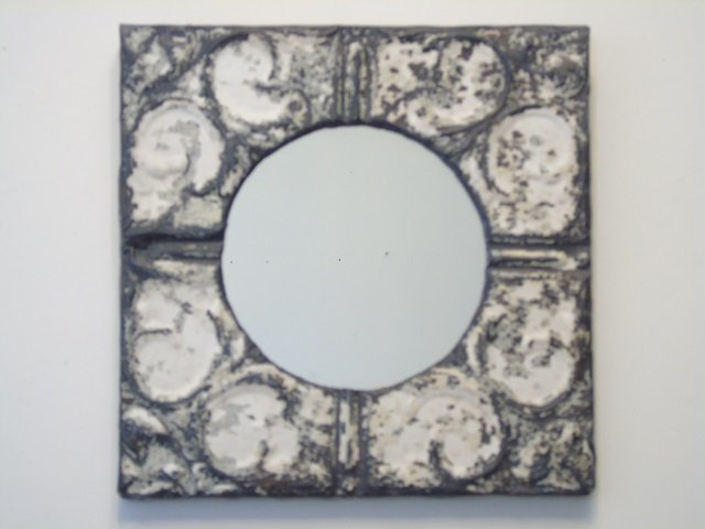 Antique Tin Ceiling Tile Mirror w White Wash