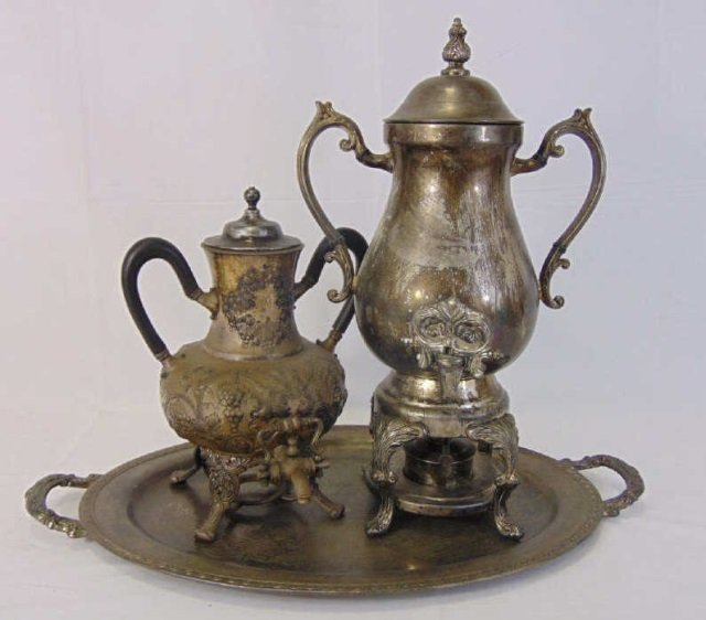 Antique Silver Plate - Two Samovars & Tray
