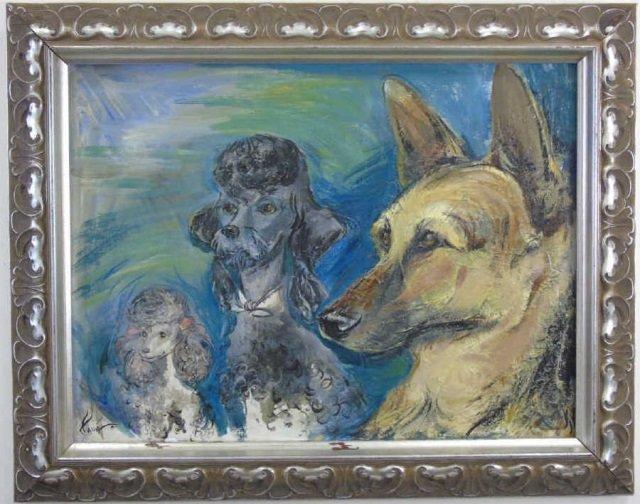 Oil Portrait of Three Dogs Shepherd & Poodles