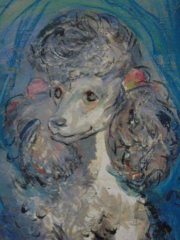 Oil Portrait of Three Dogs Shepherd & Poodles - 2
