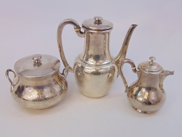 Art Deco Sterling Silver Coffee Set by Odiot Paris