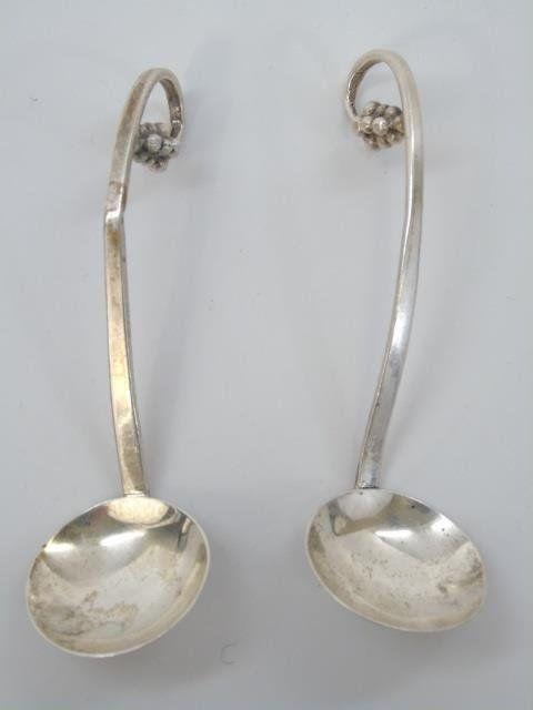 Pair Georg Jensen Sterling Silver Figural Spoons