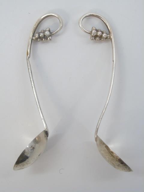 Pair Georg Jensen Sterling Silver Figural Spoons - 4