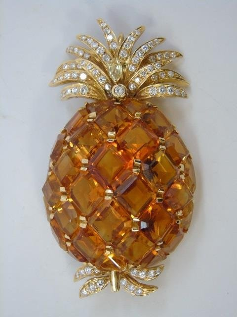 Estate Verdura Citrine Diamond Pineapple Brooch