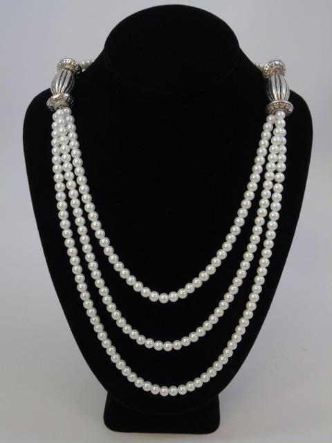Multi Strand Pearl & Tibetan Style Silver Necklace