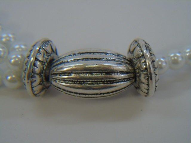 Multi Strand Pearl & Tibetan Style Silver Necklace - 2
