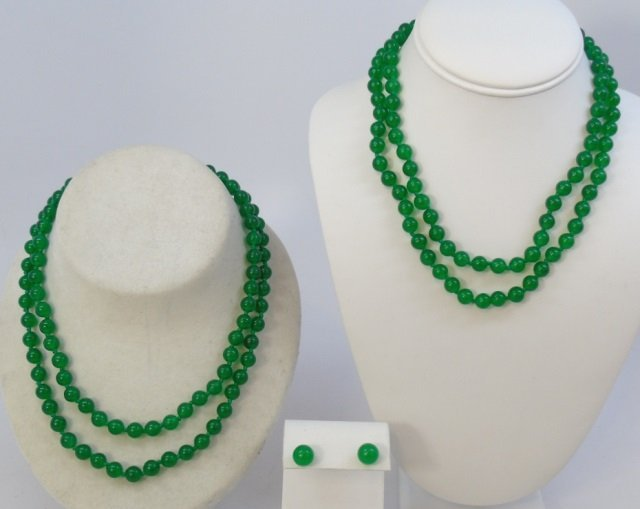 Pair Chinese Jade Necklace Strands & Earrings