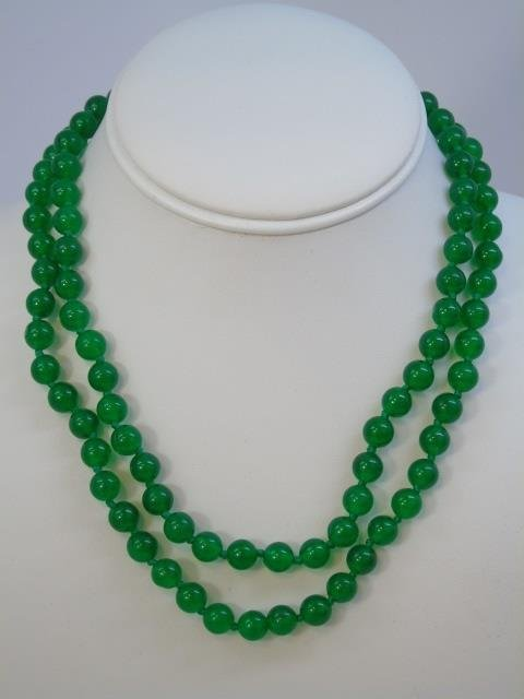 Pair Chinese Jade Necklace Strands & Earrings - 3