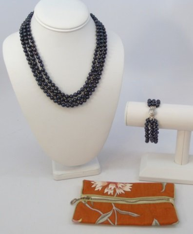 Tahitian Black Baroque Pearl Necklace Bracelet Set