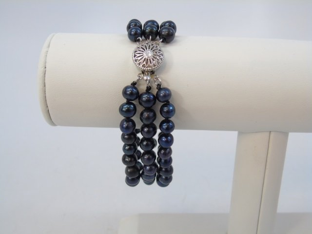 Tahitian Black Baroque Pearl Necklace Bracelet Set - 2
