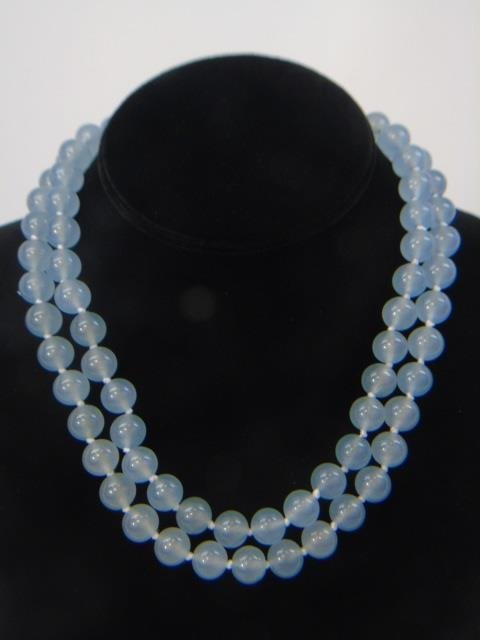 Pair Hand Knotted Blue Topaz Necklace Strands