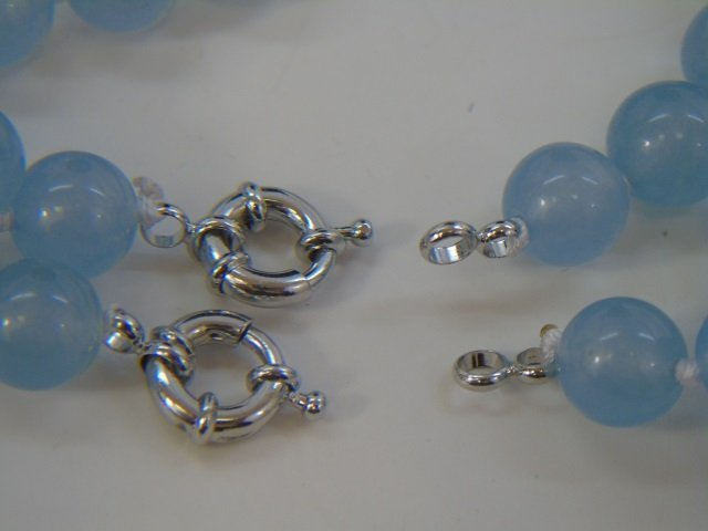 Pair Hand Knotted Blue Topaz Necklace Strands - 2