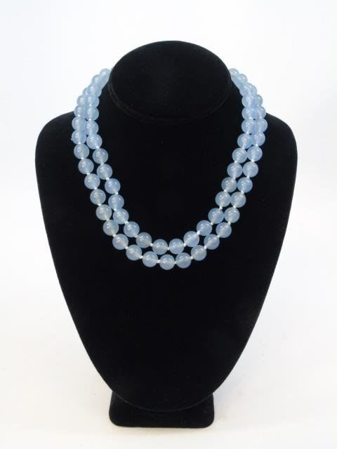 Pair Hand Knotted Blue Topaz Necklace Strands - 3
