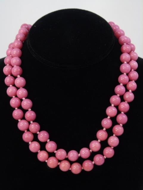 Pair Pink Rhodochrosite Bead Necklace Strands
