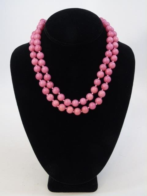 Pair Pink Rhodochrosite Bead Necklace Strands - 2