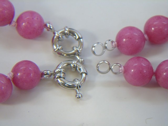 Pair Pink Rhodochrosite Bead Necklace Strands - 4