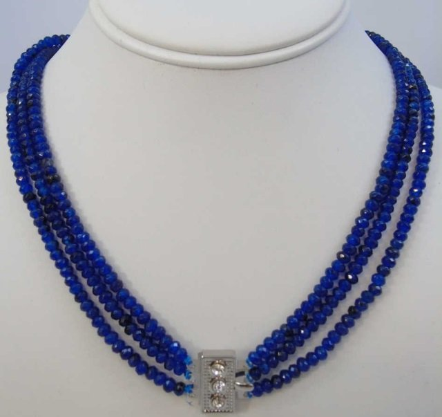 Triple Strand Faceted Blue Topaz Bead Necklace