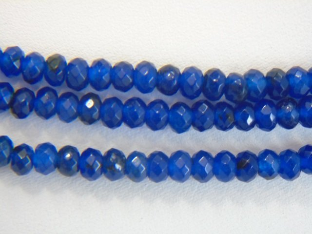 Triple Strand Faceted Blue Topaz Bead Necklace - 2