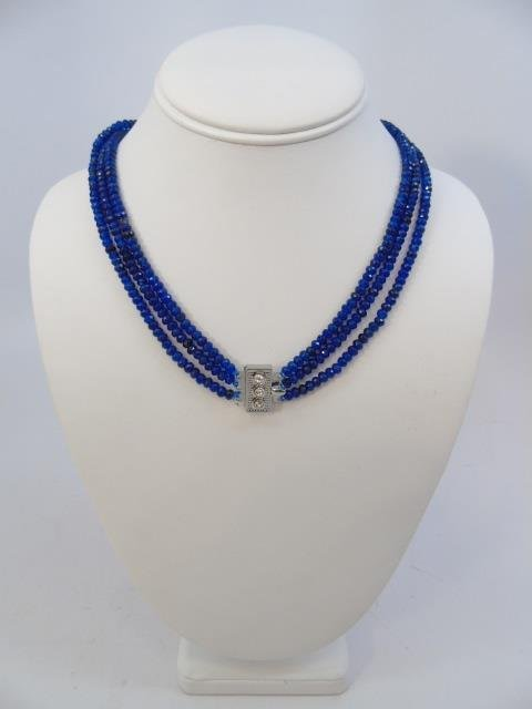 Triple Strand Faceted Blue Topaz Bead Necklace - 3