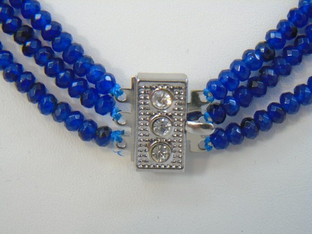 Triple Strand Faceted Blue Topaz Bead Necklace - 4