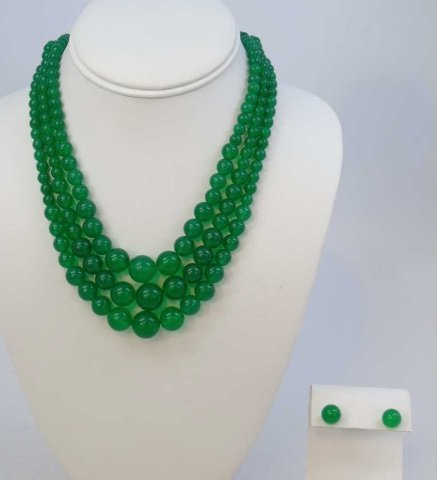 Three Chinese Green Jade Necklaces & Earrings