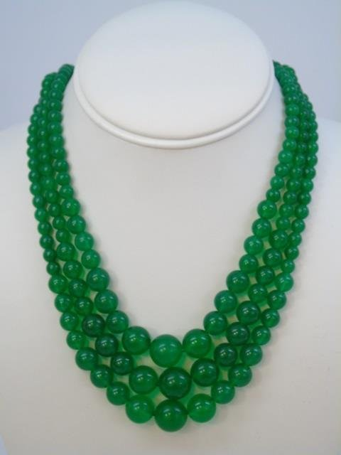 Three Chinese Green Jade Necklaces & Earrings - 2