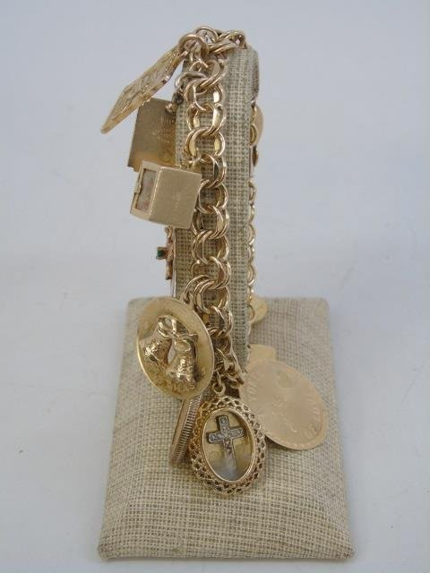 Estate 14kt Yellow Gold Retro Charm Bracelet - 2