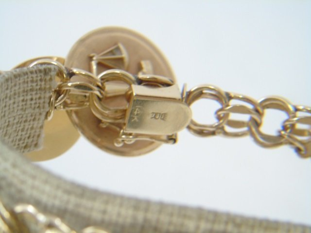 Estate 14kt Yellow Gold Retro Charm Bracelet - 4