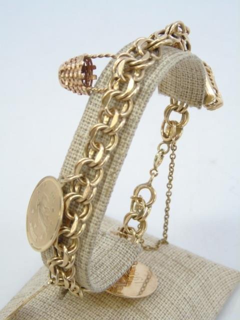 Estate 14kt Yellow Gold Retro Charm Bracelet