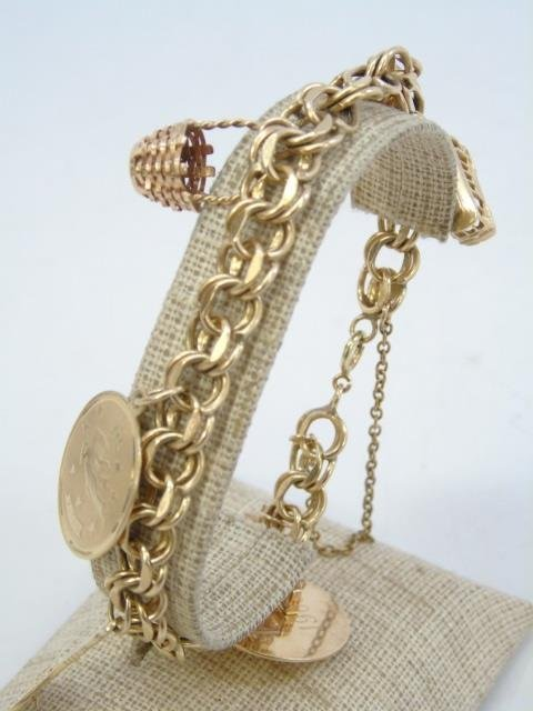 Estate 14kt Yellow Gold Retro Charm Bracelet