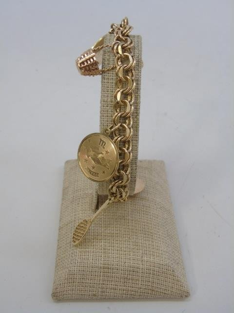 Estate 14kt Yellow Gold Retro Charm Bracelet - 3