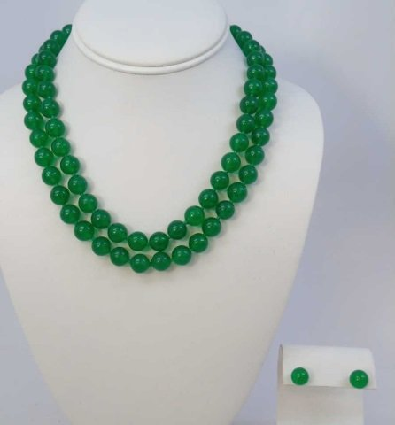35 Inch Green Chinese Jade Necklace Strand & Studs