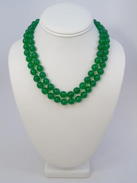35 Inch Green Chinese Jade Necklace Strand & Studs - 3