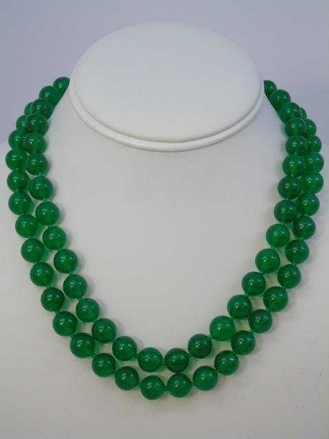 35 Inch Green Chinese Jade Necklace Strand & Studs - 4