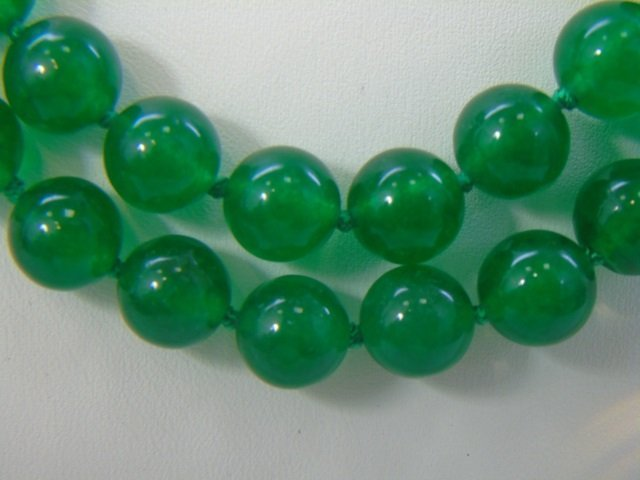 35 Inch Green Chinese Jade Necklace Strand & Studs - 5