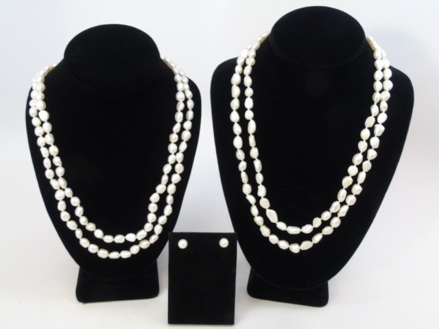 48 Inch Pair Baroque Pearl Necklaces & Studs