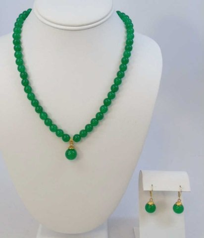Chinese Green Jade Necklace w Pendant & Earrings