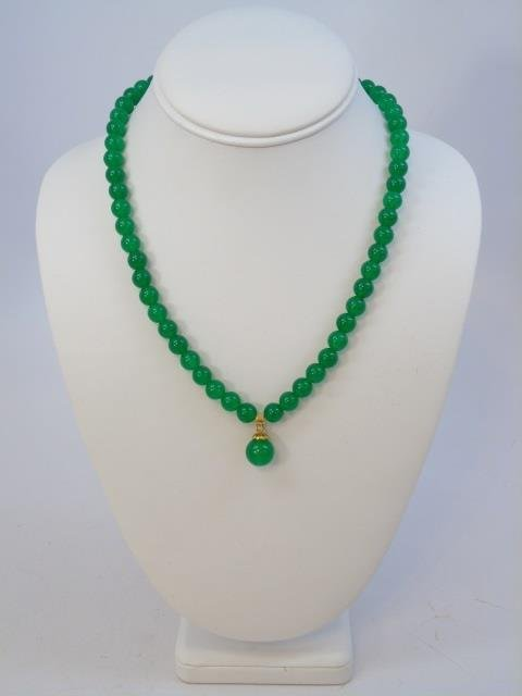 Chinese Green Jade Necklace w Pendant & Earrings - 3