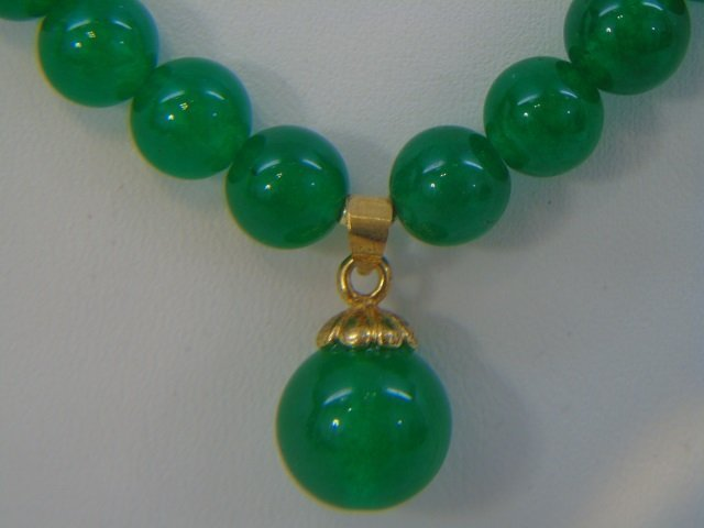 Chinese Green Jade Necklace w Pendant & Earrings - 4