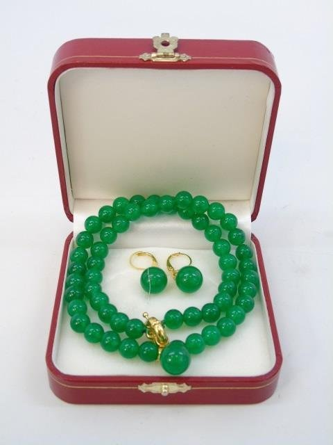 Chinese Green Jade Necklace w Pendant & Earrings - 6
