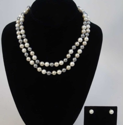 Pair Silver & White Tone Pearl Necklaces & Studs
