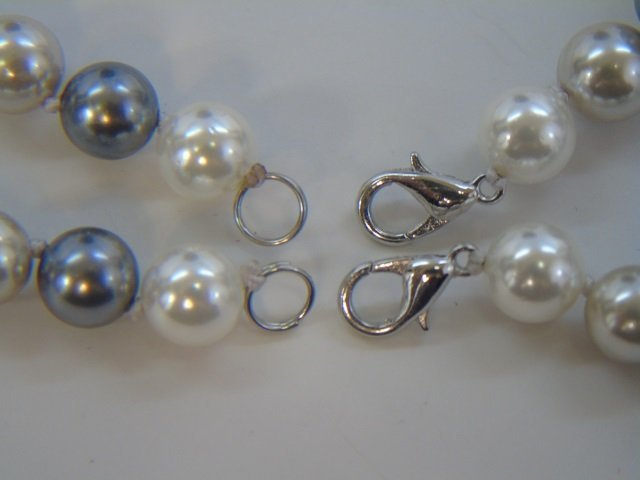 Pair Silver & White Tone Pearl Necklaces & Studs - 2