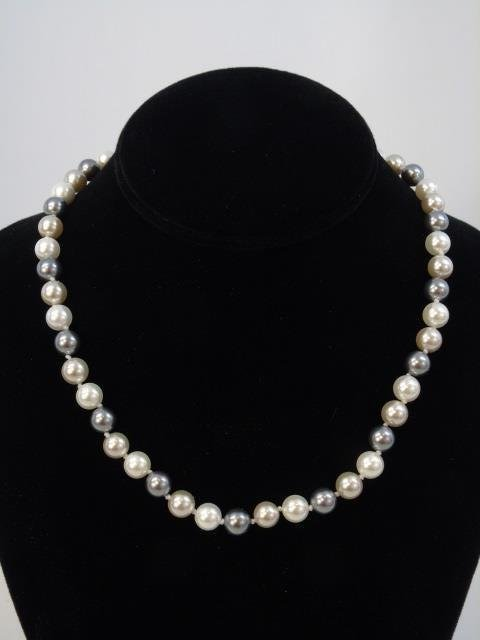 Pair Silver & White Tone Pearl Necklaces & Studs - 3