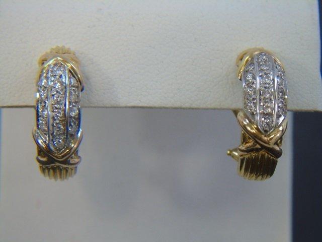 Estate 18kt Yellow Gold & Diamond Hoop Earrings