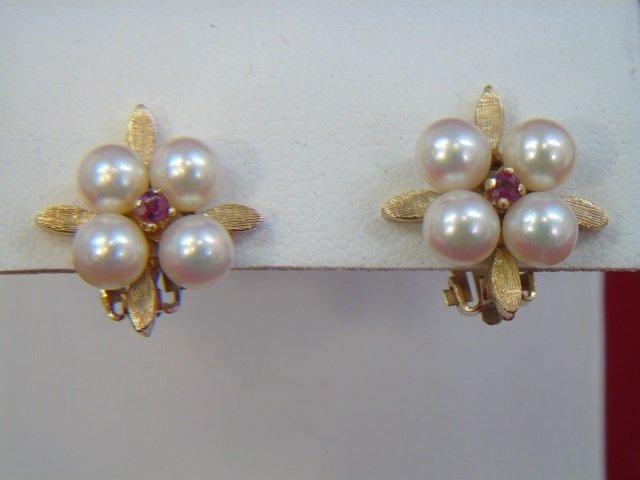 Estate Pearl Ruby & 14kt Yellow Gold Earrings