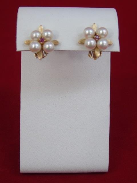 Estate Pearl Ruby & 14kt Yellow Gold Earrings - 3