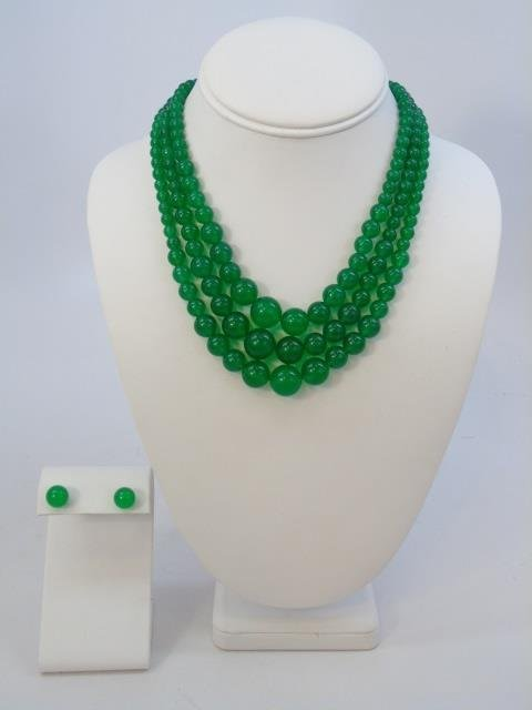 Three Graduated Bead Jade Necklaces & Studs