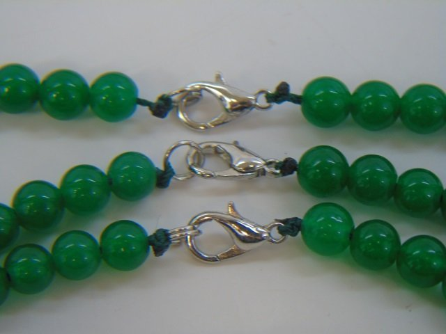 Three Graduated Bead Jade Necklaces & Studs - 2